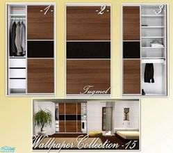 "Sims 2 — Tgm-Wallpaper Set-15 by TugmeL — Included 3 ""Wardrobe\"" Wallpapers, Cost:5"