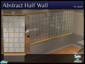 Sims 2 — Abstract Half Walls 08 by Spaik — This half wall has wooden top and bottom, and small stained glass panels with