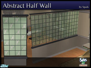 Sims 2 — Abstract Half Walls 09 by Spaik — This half wall has wooden top and bottom, and small stained glass panels with