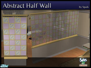 Sims 2 — Abstract Half Walls 10 by Spaik — This half wall has wooden top and bottom, and small stained glass panels with