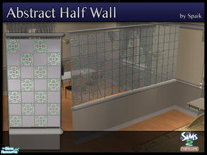 Sims 2 — Abstract Half Walls 11 by Spaik — This half wall has wooden top and bottom, and small stained glass panels with