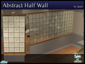 Sims 2 — Abstract Half Walls 12 by Spaik — This half wall has wooden top and bottom, and small stained glass panels with