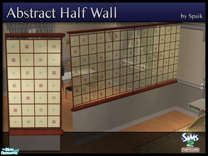 Sims 2 — Abstract Half Walls 13 by Spaik — This half wall has wooden top and bottom, and small stained glass panels with