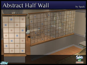 Sims 2 — Abstract Half Walls 14 by Spaik — This half wall has wooden top and bottom, and small stained glass panels with
