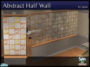 Sims 2 — Abstract Half Walls 01 by Spaik — This half wall has wooden top and bottom, and small stained glass panels with