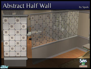 Sims 2 — Abstract Half Walls 03 by Spaik — This half wall has wooden top and bottom, and small stained glass panels with