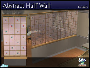 Sims 2 — Abstract Half Walls 04 by Spaik — This half wall has wooden top and bottom, and small stained glass panels with