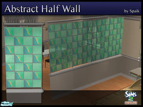 Sims 2 — Abstract Half Walls 05 by Spaik — This half wall has wooden top and bottom, and small stained glass panels with