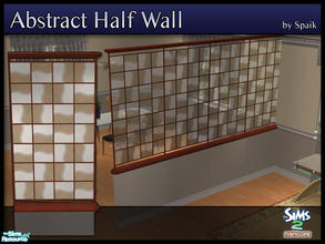 Sims 2 — Abstract Half Walls 06 by Spaik — This half wall has wooden top and bottom, and small stained glass panels with