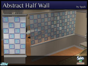 Sims 2 — Abstract Half Walls 07 by Spaik — This half wall has wooden top and bottom, and small stained glass panels with