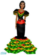 "Sims 1 — Flamenco by frisbud — A ""re-imagining\"" of the Maxis Spanish costume from the House Party costume"