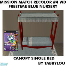 Sims 2 — TL - MM FTBlue SingleBedFrame Recolor04Wd by TabbyLou — Recolor of FreeTime Classic Baby\'s Touch Bed Frame