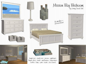 Sims 2 — Mission Bay Bedroom by Living Dead Girl — Beach inspired bedroom set consisting of two beds, dresser, two