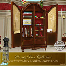 Sims 2 — Vanity Fair Sewing Room - Sewing Cabinet Mesh by Cashcraft — A favorite pastime for Victorian Ladies--sewing!