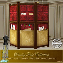 Sims 2 — Vanity Fair Sewing Room - Sewing Screen Mesh by Cashcraft — A favorite pastime for Victorian Ladies--sewing!