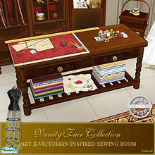 Sims 2 — Vanity Fair Sewing Room - Worktable Mesh by Cashcraft — A favorite pastime for Victorian Ladies--sewing! Part X