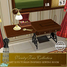 Sims 2 — Vanity Fair Sewing Room - Sewingdesk Mesh by Cashcraft — Desk for the computer sewing machine. A favorite