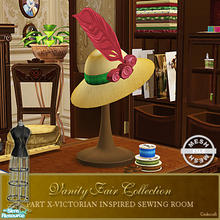 Sims 2 — Vanity Fair Sewing Room - Hat Mesh by Cashcraft — A favorite pastime for Victorian Ladies--sewing! Part X of the