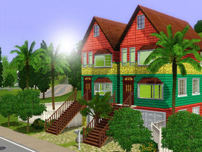 Sims 3 — Bohemian Bungalows by xtinabobina — Completely unfurnished, a blank slate for your creativity. Exterior is