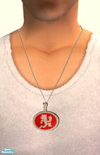 Sims 2 — Red Hatchetman Male Necklace by PeachKrysie — This was a request from Nerdy_and_Proud. Red Hatchetman necklace