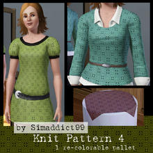 Sims 3 — Knit Pattern 4 by Simaddict99 — Intricate knit/crochet floral lace pattern. Use on sweaters, jackets or even