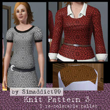 Sims 3 — Knit Pattern 3 by Simaddict99 — Intricate knit/crochet floral lace pattern. Use on sweaters, jackets or even