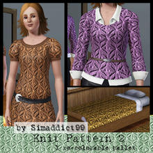 Sims 3 — Knit Pattern 2 by Simaddict99 — Cute, small pom-pom knit pattern. Use on sweaters, jackets or even bedding for a