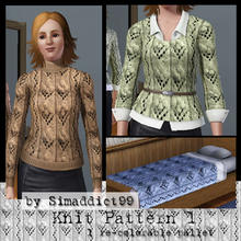 Sims 3 — Knit Pattern 1 by Simaddict99 — Cute, pom-pom knit pattern. Use on sweaters, jackets or even bedding for a warm