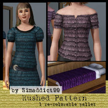 Sims 3 — Rushed by Simaddict99 — tuffted rushing pattern. use on blouses, dresses and more