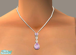 Sims 2 — Amethyst Drop Necklace by PeachKrysie — Amethyst Drop Pendant in 10K White Gold with Diamond Accents. Uses Alpha