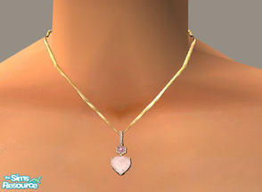Sims 2 — Rose Heart Necklace by PeachKrysie — Rose Quartz Heart Pendant with Pink Sapphire and Diamond in 14K Rose Gold.