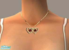 Sims 2 — Double Heart Necklace by PeachKrysie — Ruby and Diamond Duo Double Heart Necklace in 10K Gold. Uses Alpha