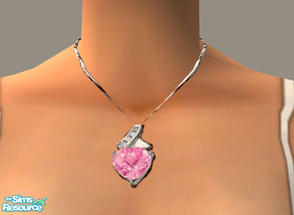 Sims 2 — Pink Sapphire Necklace by PeachKrysie — Pink Sapphire Heart Pendant in 10K White Gold with Diamond Accents. Uses