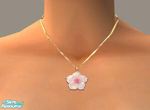 Sims 2 — Pink Flower by PeachKrysie — Pink Tourmaline and Mother-of-Pearl Flower Pendant in 10K Gold. Uses Alpha