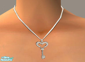 Sims 2 — Heart Key Necklace by PeachKrysie — Diamond Accent Heart Key Pendant in Sterling Silver. Uses Alpha Necklaces by