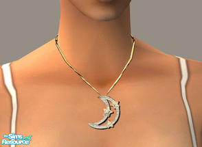 Sims 2 — Diamond Moon Necklace by PeachKrysie — Diamond Accent Moon with Stars Pendant in 10K Gold. Uses Alpha Necklaces