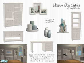 Sims 2 — Mission Bay Office by Living Dead Girl — Includes office center, 2 tile desk, 1 tile desk, shelving, candles,