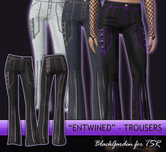 Sims 3 — Entwined by BlackGarden — Gothy trousers with laced ribbons, D-rings, and zip details, inspired by brands such