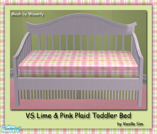 Vanilla Sims VS Lime Amp Pink Plaid Toddler Bed