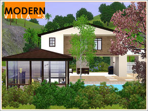Sims 3 — Modern Villa 3 by Leomo — This Modern Villa is surrounded by beautiful trees and flowers. There is a open plan