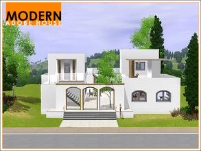 Sims 3 — Modern Adobe House by Leomo — This Modern Adobe House is built around a large courtyard and has a rustic feel to