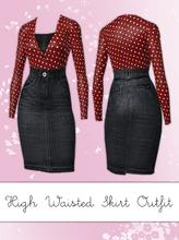 Sims 3 — High Waisted Skirt Outfit by hrekkjavaka — A high waisted denim skirt, cute little tucked cardi and top, all