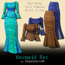 Sims 3 — New Mesh Set - Mermaid Skirt & Top YA/A F by Simaddict99 — mermaid style, ankle length skirt and flared top.
