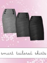 Sims 3 — Smart Tailored Skirt by hrekkjavaka — A smart tweed skirt for ya/af. Front buttons and zip detail on the back.