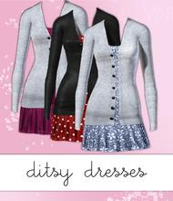 Sims 3 — Ditsy Dress and Cardigan by hrekkjavaka — A short dress with open front cardigan. Three styles in game. Two