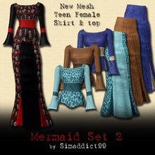 Sims 3 — New Mesh Set - Mermaid Skirt & Top for TF by Simaddict99 — mermaid style, ankle length skirt and flared top.