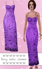 Sims 3 — Long Satin Dresses by hrekkjavaka — Long satin dresses, one with a dragon motif overlay on the side, one with