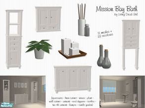 Sims 2 — Mission Bay Bath by Living Dead Girl — Includes hamper, linen cabinet, mirror, wall cabinet, spacesaver,
