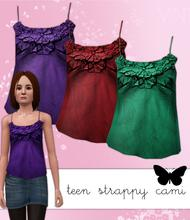 Sims 3 — Teen Strappy Flower Detail Cami by hrekkjavaka — Strappy cami for teen girls, also available for adults.