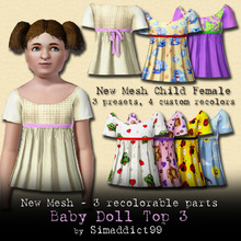 Sims 3 — New Mesh Baby Doll Top - CF - SET by Simaddict99 — this set includes my new child baby doll top (comes with 3